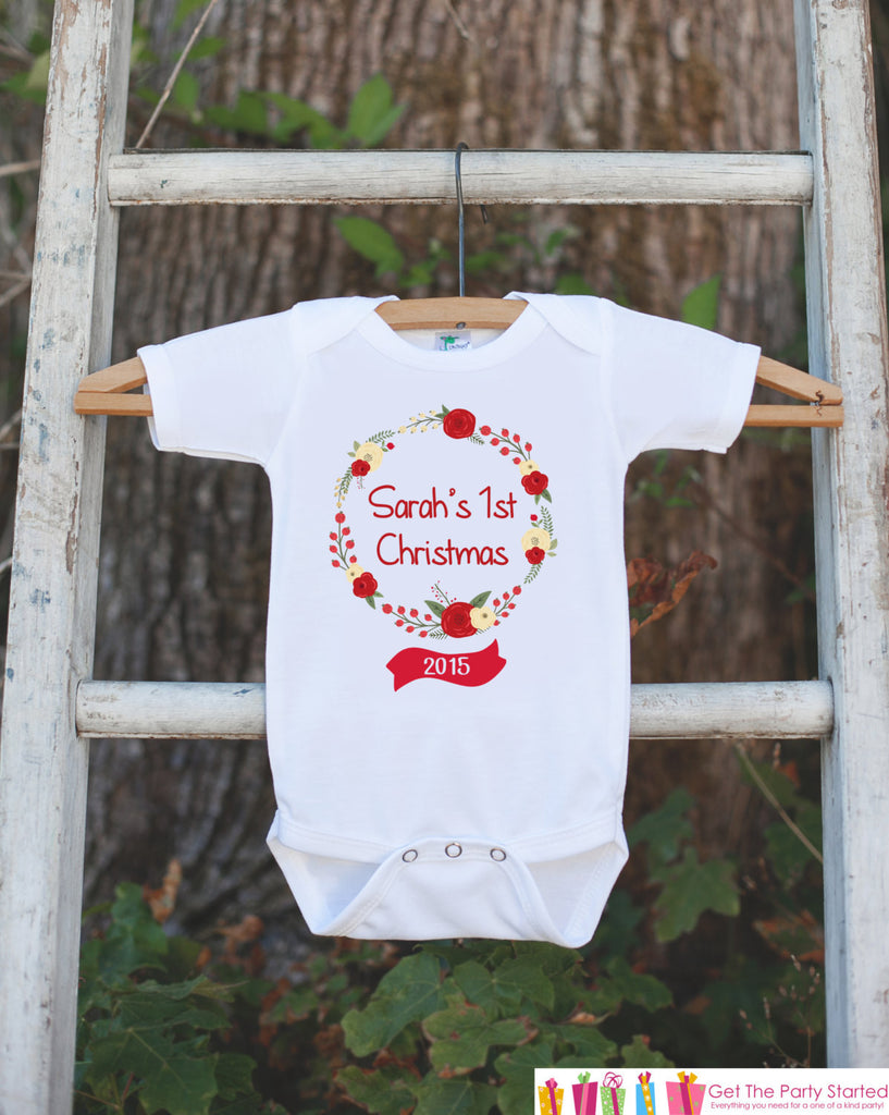 Girls 1st Christmas Outfit - Floral Wreath with Name - Novelty Christmas Shirt - Rustic First Christmas Onepiece - Outfit for Santa Pictures - Get The Party Started