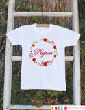 Girls Holiday Outfit - Floral Wreath with Name - Novelty Christmas Shirt - Rustic First Christmas Onepiece -Outfit for Santa Pictures - Get The Party Started