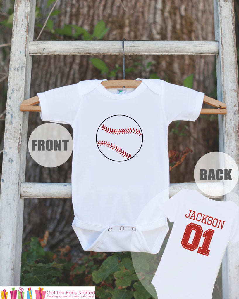 Baseball Jersey Outfit - Personalized Bodysuit For Boy's 1st Birthday Party - Baseball Onepiece Birthday Shirt With Name & Age or Number - Get The Party Started