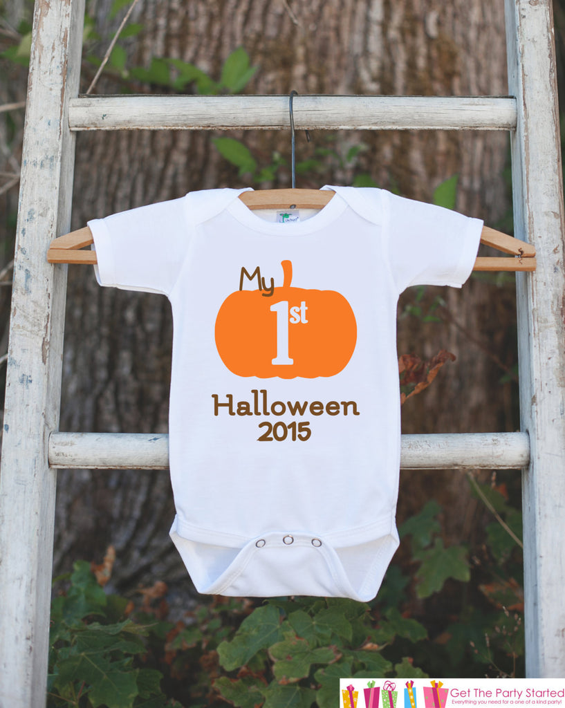 My First Halloween Outfit - Baby's 1st Halloween Onepiece - Halloween Pumpkin Bodysuit for Baby Boy or Baby Girl - My First Halloween Outfit - Get The Party Started