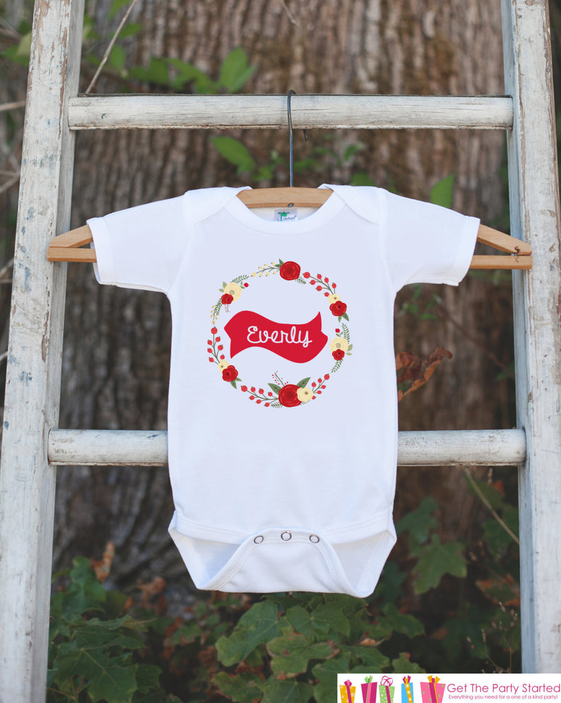 Girls Holiday Outfit - Floral Wreath with Name - Novelty Christmas Shirt for Kids - Rustic Christmas Onepiece - Outfit for Santa Pictures - Get The Party Started