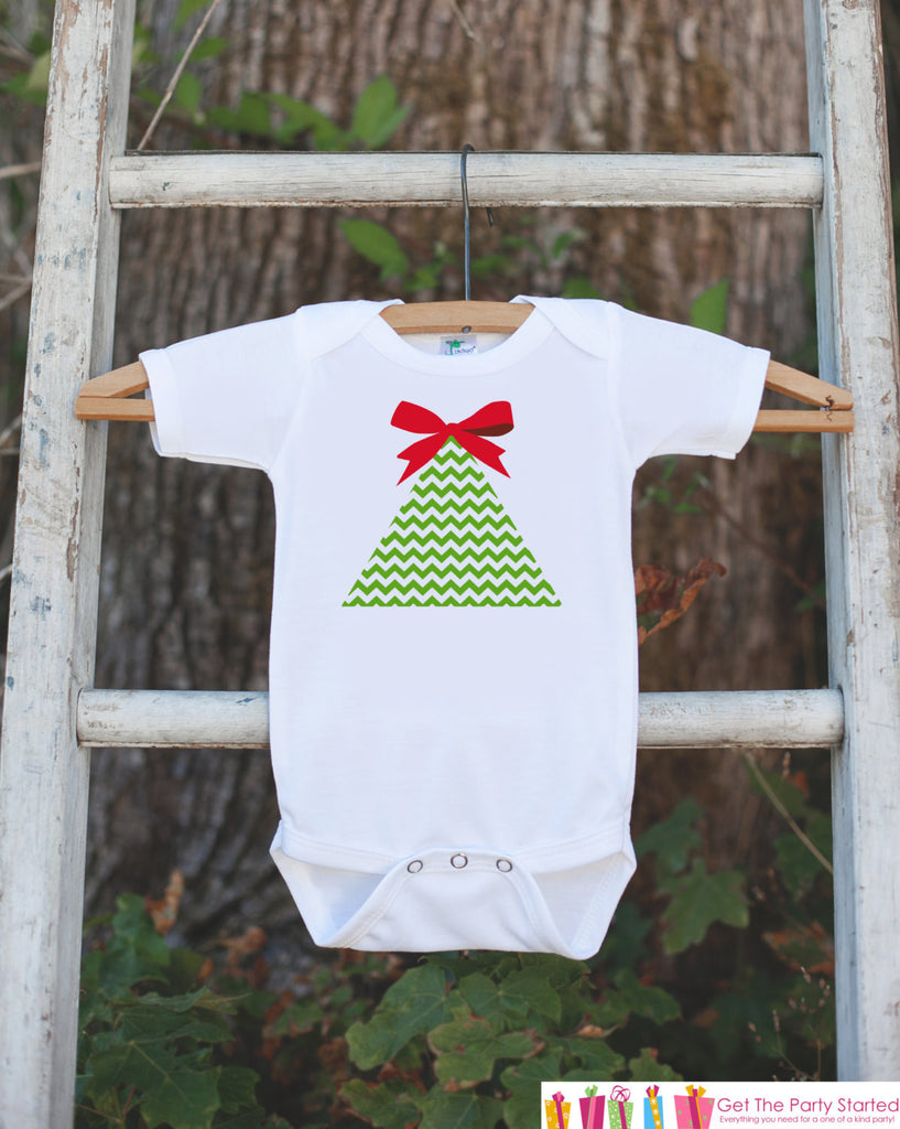 Girls Christmas Outfit - Chevron Christmas Tree Onepiece - Baby's First Christmas Bodysuit - Christmas Shirt - Girl Preppy Holiday Outfit - Get The Party Started