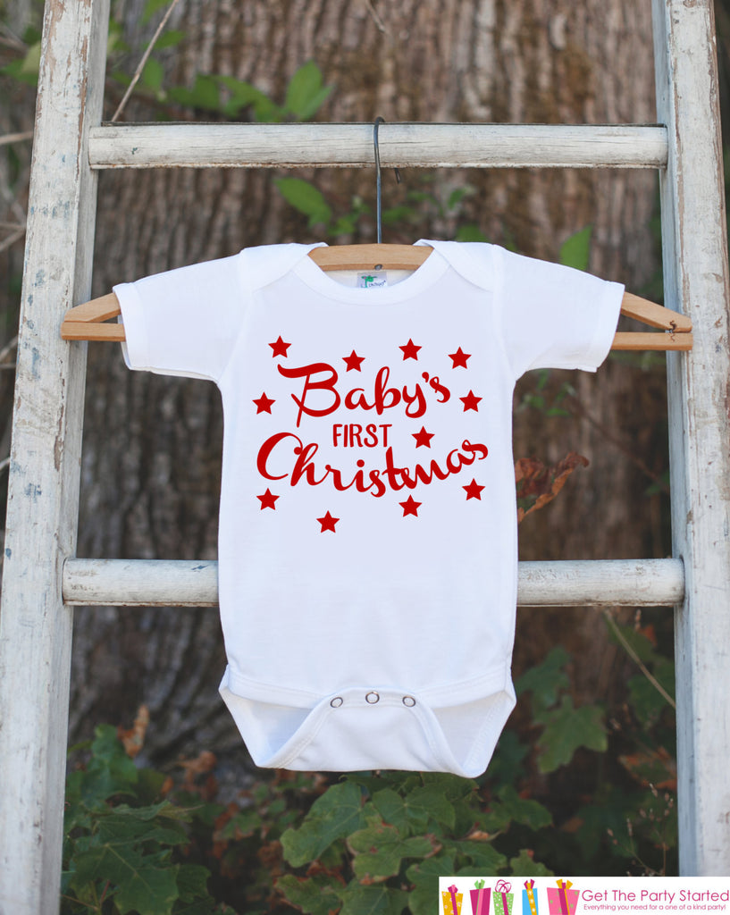 First Christmas Outfit - Christmas Onepiece - Baby's First Christmas with Stars for Baby Boy or Baby Girl - My 1st Christmas Outfit - Get The Party Started