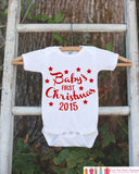 First Christmas Outfit - 2015 Christmas Onepiece - Baby's First Christmas with Stars for Baby Boy or Baby Girl - My 1st Christmas Outfit - Get The Party Started
