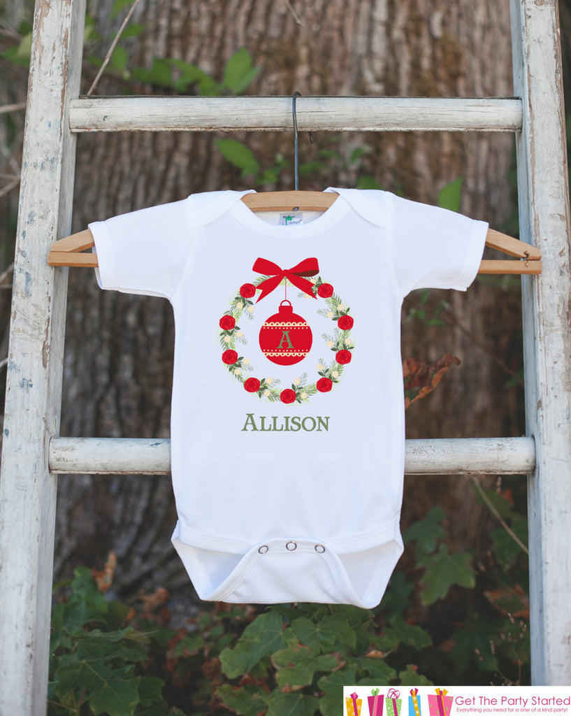 Girl Christmas Outfit - Initial Christmas Onepiece - Personalized Bodysuit With Ornament - Vintage Wreath Christmas Outfit for Baby Girl - Get The Party Started