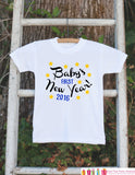Babys First New Years Outfit - 2016 Happy New Years Eve Onepiece - Babys First Holiday - 1st New Year Bodysuit for Baby Boys - Yellow Stars - Get The Party Started