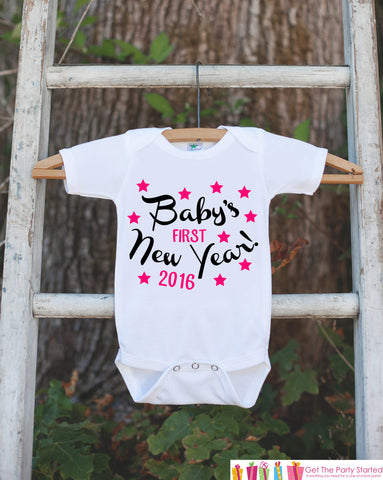 Babys First New Years Outfit - 2016 Happy New Years Eve Onepiece - Babys First Holiday - 1st New Year Bodysuit for Baby Girls - Pink & Black - Get The Party Started