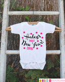 First New Years Outfit - 2016 Happy New Years Eve Onepiece - Personalized First Holiday - 1st New Year Bodysuit for Baby Girls - Pink Black - Get The Party Started