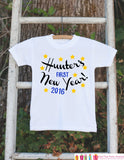 First New Years Outfit - 2016 Happy New Years Eve Onepiece - Personalized First Holiday - 1st New Year Bodysuit for Baby Boys - Blue & Black - Get The Party Started
