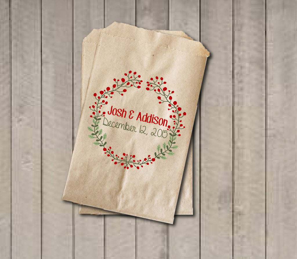 Winter Wedding Favor Bags, Red and Green Favor Bag, Wedding Candy Bags, Winter Wedding Candy Buffet Bags - Rustic Wreath Foilage Red Berries - Get The Party Started