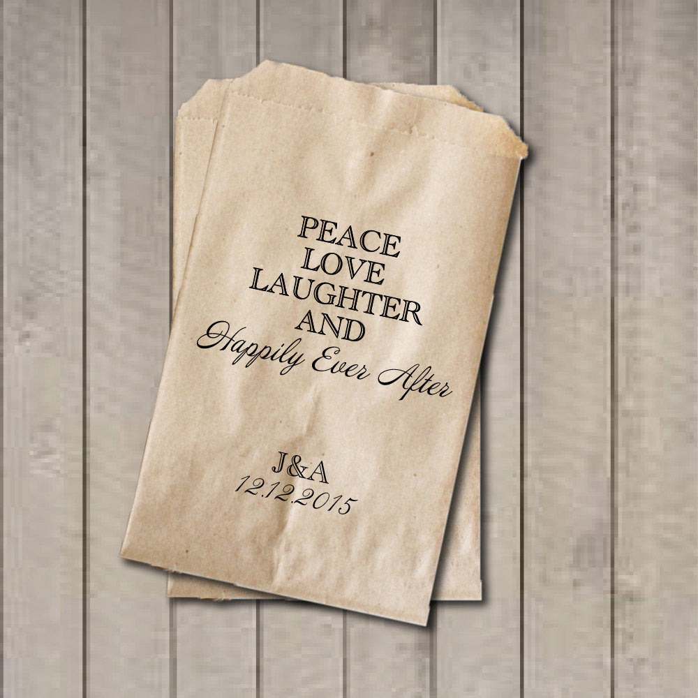 Wedding Favor Bags, Peace Love Laughter Favor Bags, Personalized Wedding Candy Bags, Wedding Candy Buffet Bags, Engagement, Bridal Shower - Get The Party Started