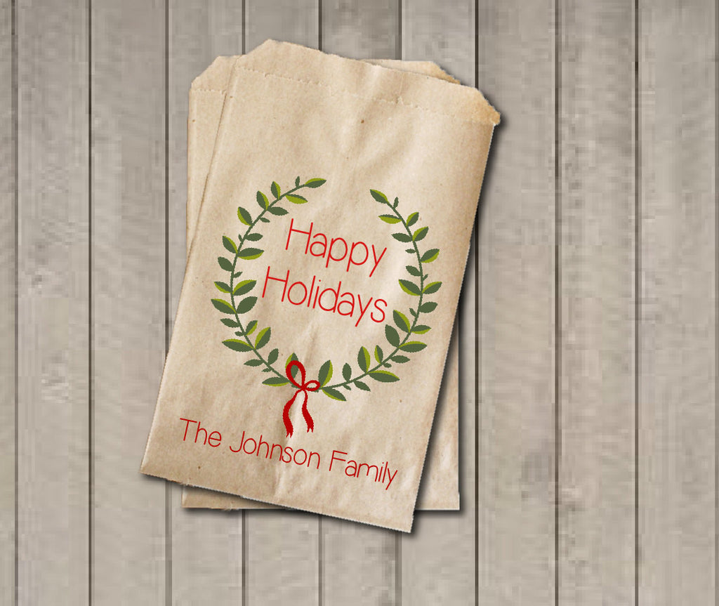 Happy Holidays Favor Bags, Custom Red and Green Favor Bag, Christmas Gift Bags, Rustic Winter Cookie Bags - Rustic Wreath Foilage with Name - Get The Party Started