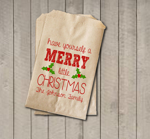 Christmas Favor Bags, Have a Merry Little Christmas Favor Bag, Christmas Gift Bags, Custom Rustic Winter Cookie Bags - Red & Green Holiday - Get The Party Started