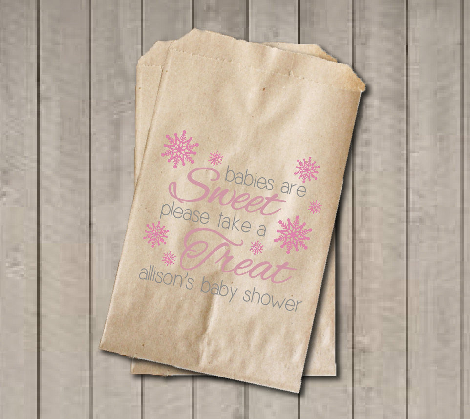 Winter Girl Baby Shower Favor Bags, Babies Are Sweet Favor Bags, Pink Snowflake Shower Favor Bags, Baby Shower Candy Buffet - Pink & Grey - Get The Party Started
