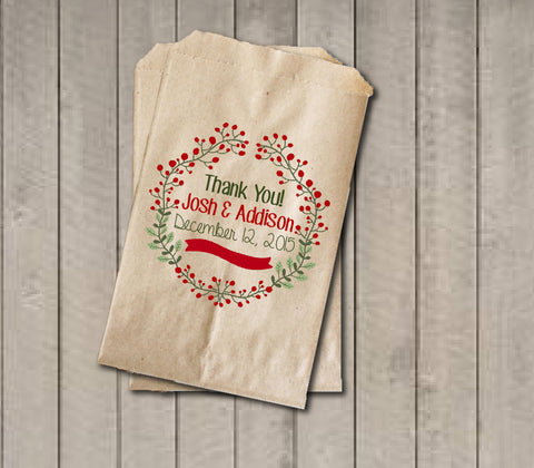 Winter Wedding Favor Bags, Red and Green Favor Bag, Wedding Candy Bags, Winter Wedding Candy Buffet - Rustic Wreath Foilage Thank You Favor - Get The Party Started