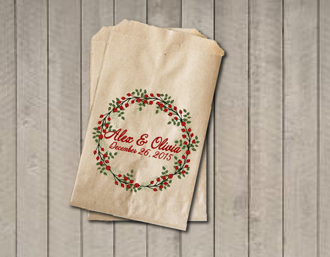 Winter Wedding Favor Bags, Wedding Candy Bags, Winter Wedding Candy Buffet Bags - Rustic Wreath Foilage Red Berries, Red and Green Favor Bag - Get The Party Started