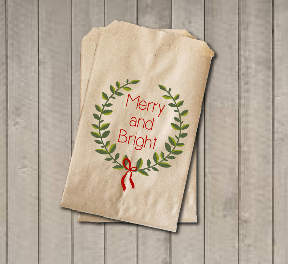 Christmas Gift Favor Bags, Red and Green Favor Bag, Holiday Candy Bags, Rustic Winter Cookie Bags - Rustic Wreath Foilage Merry and Bright - Get The Party Started