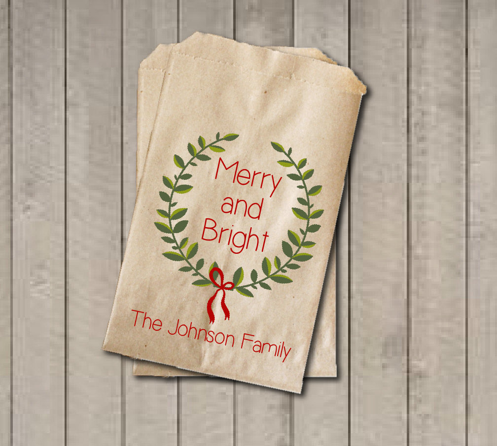 Christmas Gift Favor Bags, Custom Red and Green Favor Bag, Holiday Candy Bags, Rustic Winter Cookie Bags - Rustic Wreath Foilage with Name - Get The Party Started