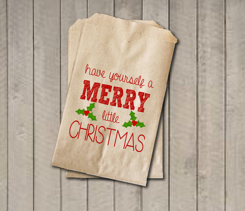 Christmas Favor Bags, Have a Merry Christmas Favor Bag, Christmas Gift Bags, Rustic Winter Cookie Bags, Rustic Holiday Favor Bag Green & Red - Get The Party Started