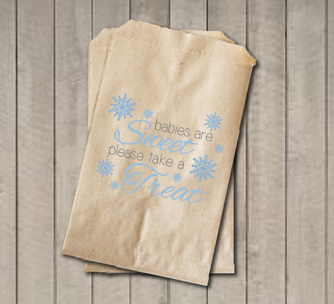 Winter Boy Baby Shower Favor Bags, Babies Are Sweet Favor Bags, Blue Snowflake Shower Favor Bags, Baby Shower Candy Buffet - Blue & Grey - Get The Party Started