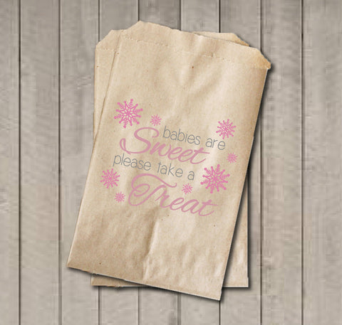Winter Girl Baby Shower Favor Bags, Babies Are Sweet Favor Bags, Grey & Pink Snowflake Shower Favor Bags, Girl Baby Shower Candy Buffet - Get The Party Started