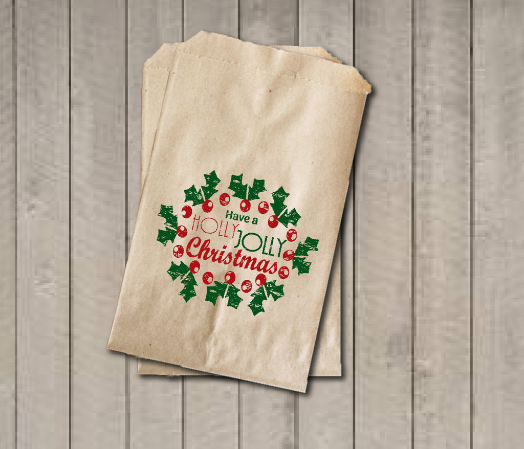 Christmas Favor Bags, Have a Holly Jolly Christmas Favor Bag, Christmas Gift Bags, Rustic Winter Cookie Bags, Rustic Holiday Favor Bag - Get The Party Started