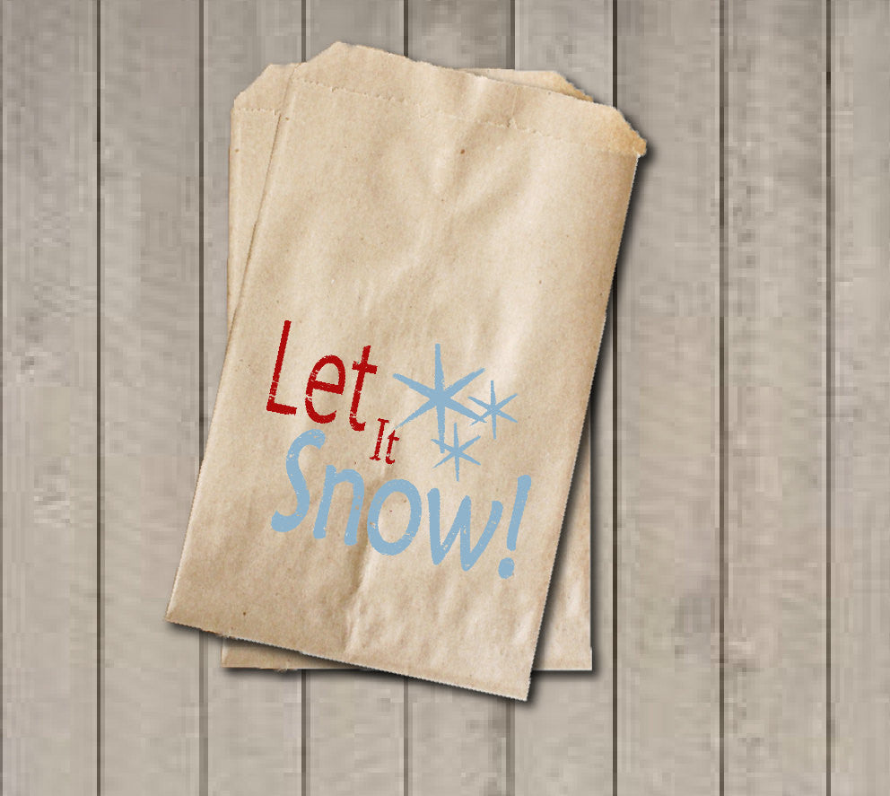 Christmas Favor Bags, Let it Snow Favor Bag, Christmas Gift Bags, Rustic Winter Cookie Bags, Rustic Holiday Favor Bag for Baked Goods - Get The Party Started