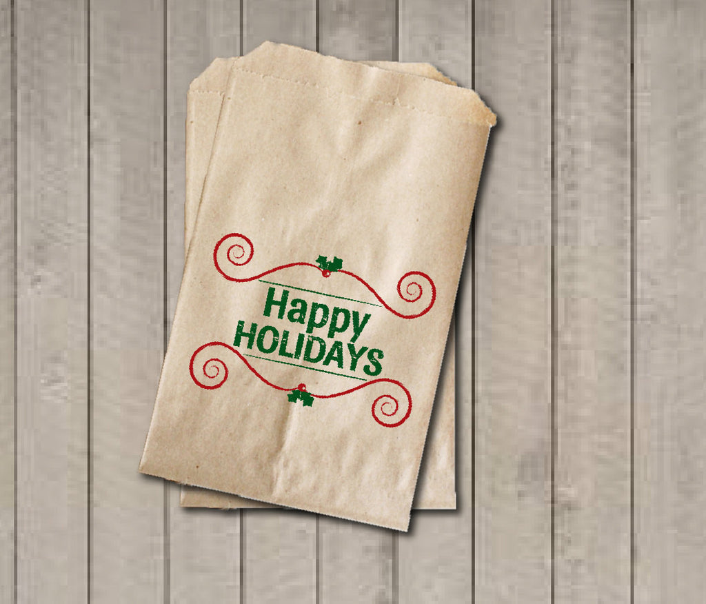 Christmas Favor Bags, Happy Holidays Favor Bag, Christmas Gift Bags, Rustic Winter Cookie Bags, Rustic Holiday Favor Bag for Baked Goods - Get The Party Started