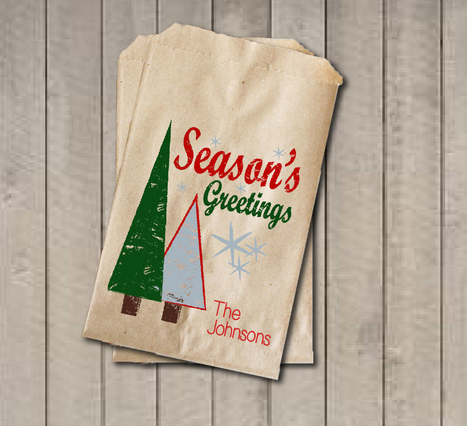 Christmas Favor Bags, Season's Greetings Favor Bag, Christmas Gift Bags, Custom Rustic Winter Cookie Bags - Red & Green Holiday Gift Bag - Get The Party Started
