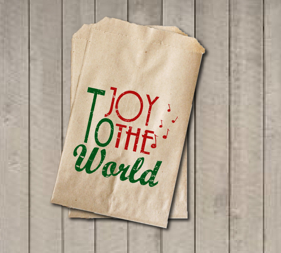 Christmas Favor Bags, Joy to the World Favor Bag, Christmas Gift Bags, Rustic Winter Cookie Bags, Rustic Holiday Favor Bag for Baked Goods - Get The Party Started