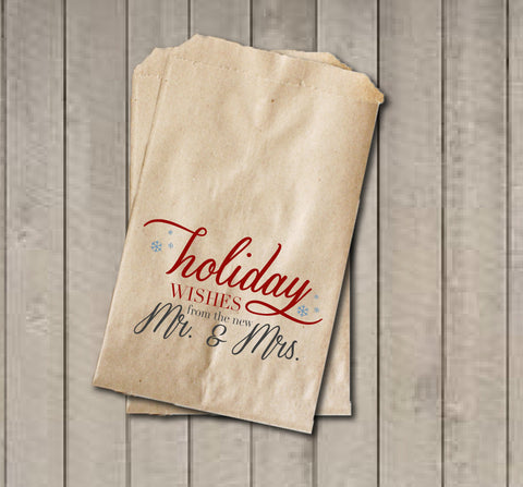 Winter Wedding Favor Bags, Holiday Wishes From The New Mr. & Mrs. Favor Bags, Personalized Wedding Candy Bags, Wedding Candy Buffet Bags - Get The Party Started