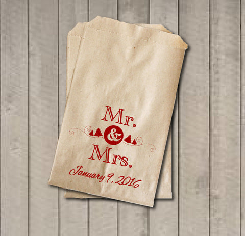 Winter Wedding Favor Bags, Mr. & Mrs. Favor Bags, Custom Wedding Candy Bags, Wedding Candy Buffet Bags with Date, Wedding Guest Favor Bags - Get The Party Started