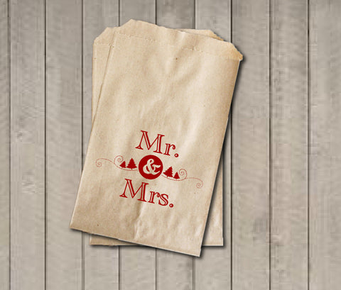 Winter Wedding Favor Bags, Mr. & Mrs. Favor Bags, Wedding Candy Bags, Wedding Candy Buffet Bags with Date, Bridal Shower, Engagement Party - Get The Party Started