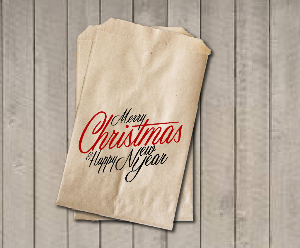 Christmas Favor Bags, Merry Christmas & Happy New Year Favor Bag, Christmas Gift Bags, Rustic Winter Cookie Bags, Rustic Holiday Favor Bag - Get The Party Started