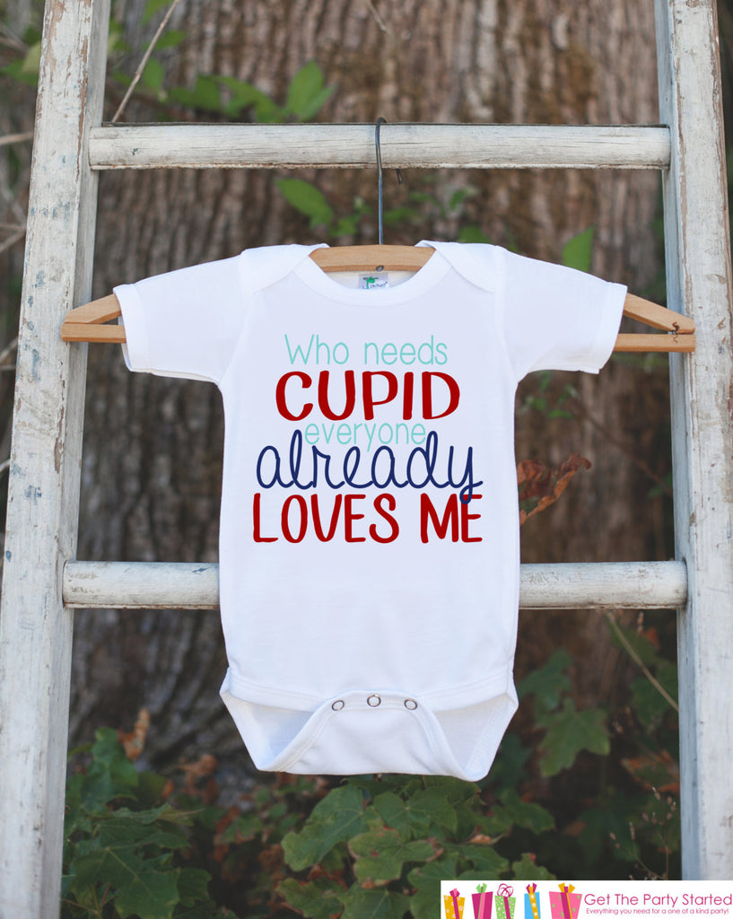 1303255815338 Boys Valentines Day Outfit - Who Needs Cupid Valentines Onepiece - Novelty  Valentine Shirt for Baby Boys - Kids Valentines Day Outfit