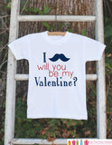 Boys Valentines Day Outfit - Mustache Will You Be My Valentine Onepiece - Novelty Valentine Shirt for Baby Boys - Kids Valentines Day Outfit - Get The Party Started