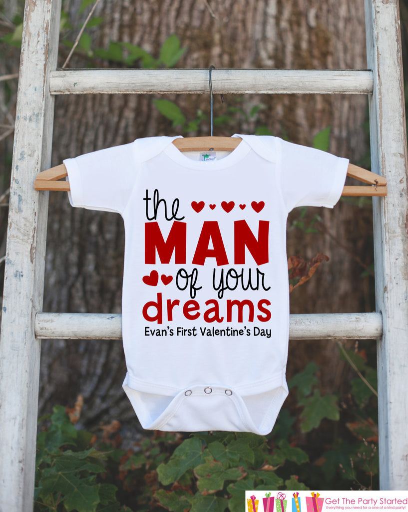 Boys Valentines Day Outfit - The Man of Your Dreams Valentines Onepiece - Boys 1st Valentine Bodysuit - First Valentine's Day - Red Hearts - Get The Party Started
