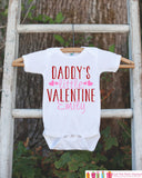 Girls Valentines Day Outfit - Daddy's Little Valentine Onepiece - Novelty Valentine Shirt for Baby Girls - Daddy's Valentine Outfit - Get The Party Started