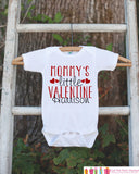 Kids Valentines Day Outfit - Mommy's Little Valentine Onepiece - Novelty Valentine Shirt for Baby Girls or Boys - Mommy's Valentine Outfit - Get The Party Started