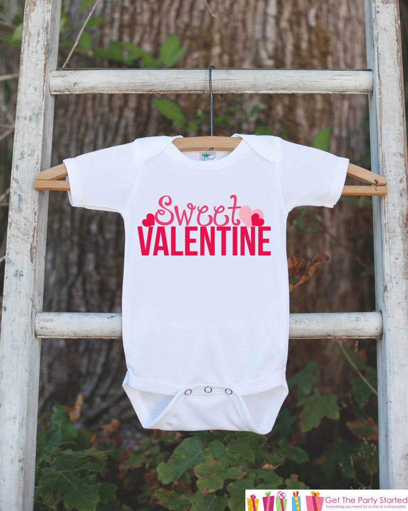 Girls Valentines Day Outfit - Sweet Valentine Onepiece with Pink Hearts - Novelty Valentine Shirt for Baby Girl - Kids Valentines Day Outfit - Get The Party Started