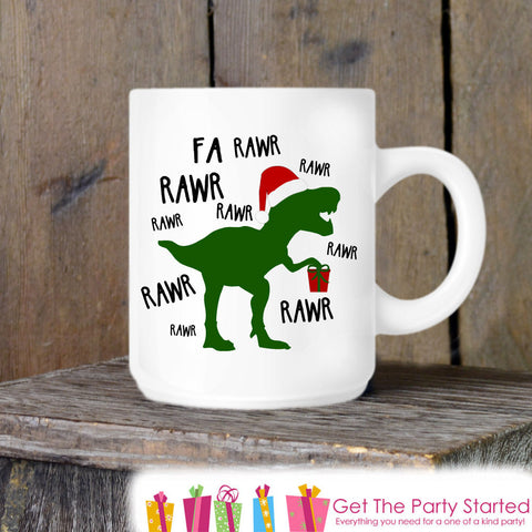 Coffee Mug, Holiday Dinosaur T-rex, Novelty Ceramic Mug, Humorous Dino Mug, Coffee Cup Gift, Gift for Him, Coffee Lover, Christmas Gift Idea - Get The Party Started