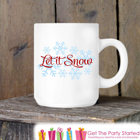 Coffee Mug, Let It Snow Novelty Ceramic Mug, Winter Snowflake Mug, Coffee Cup Gift, Gift for Him or Her, Coffee Lovers, Christmas Gift Idea - Get The Party Started