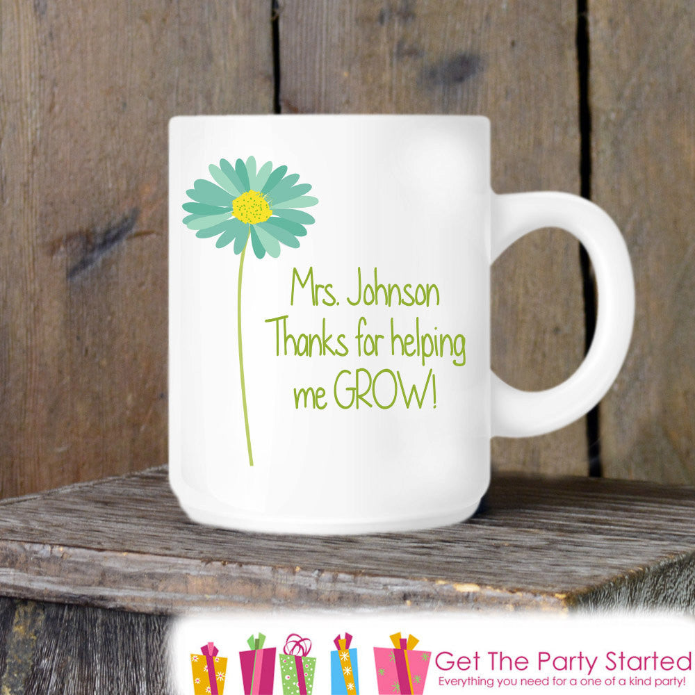 Teacher Gift, Coffee Mug, Thanks For Helping Me Grow, Personalized Ceramic Mug, Teacher Coffee Cup, Teacher Gift Idea, Customized With Name - Get The Party Started