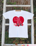 Kids Valentines Day Outfit - Love Bug Valentines Onepiece - Novelty Valentine Shirt for Baby Girls or Boys - Kids Valentines Day Outfit - Get The Party Started