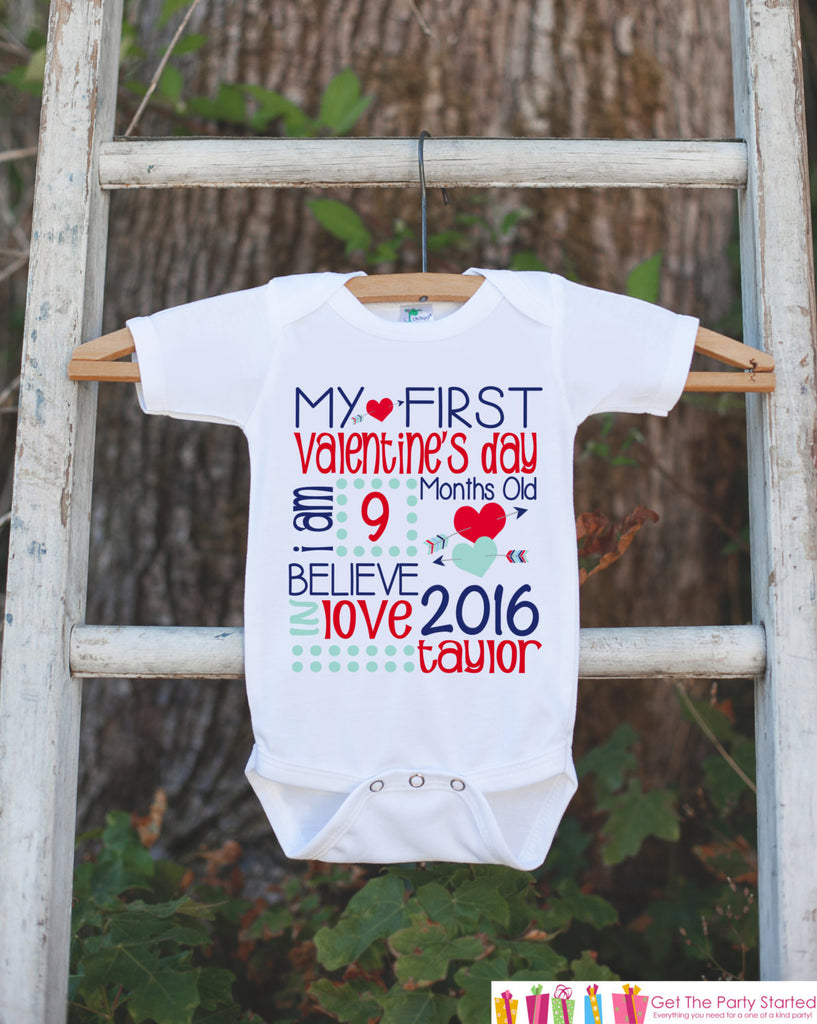 First Valentine's Day Outfit - Personalized Valentine Onepiece - Baby's First Holiday - Kids 1st Valentines Day Bodysuit for Baby Boys - Get The Party Started