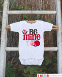 Girls Valentines Day Outfit - Be Mine Valentines Onepiece - Novelty Valentine Shirt for Baby Girls - Kids Valentines Day Outfit Love Bug - Get The Party Started