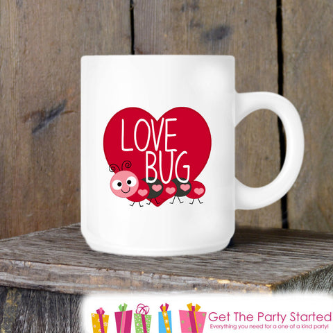 Valentines Coffee Mug, Love Bug Valentine Ceramic Mug, Red Love Bug Mug, Funny Coffee Cup Gift, Gift for Her or Him, Coffee Lover Gift Idea - Get The Party Started