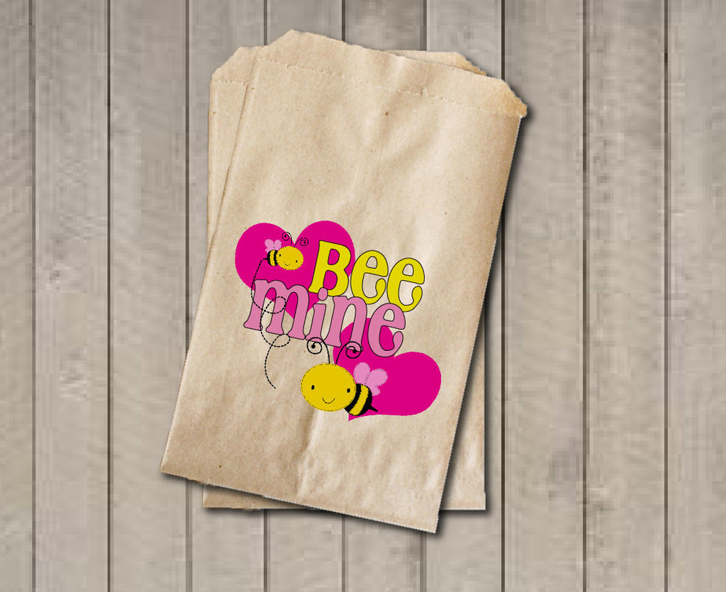 Valentine's Day Candy Favor Bags, Valentine Treats Candy Bags, Bee Mine Party Favor Bags, Valentine's Day Bag, Candy Buffet, Sweets, Treats - Get The Party Started