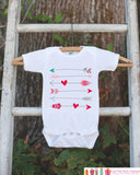Kids Valentines Day Outfit - Valentines Onepiece - Novelty Valentine Shirt with Arrows for Baby Girls or Boys - Kids Valentines Day Outfit