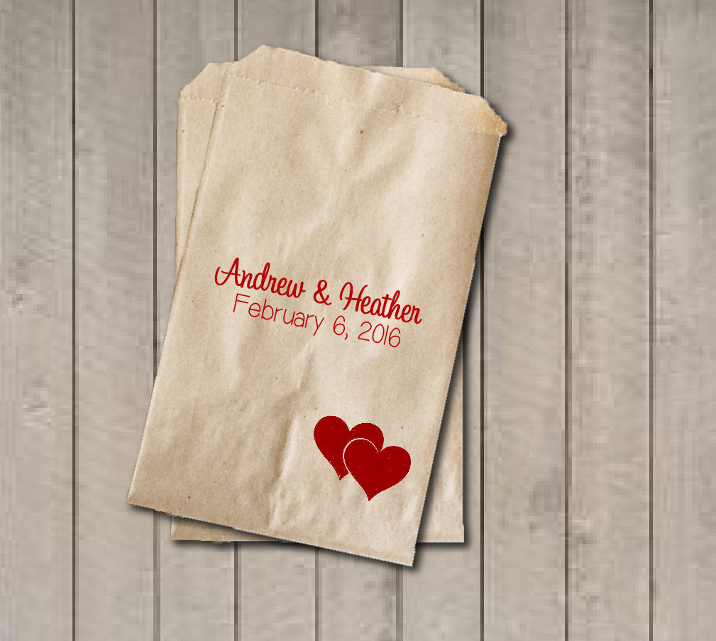 Two Hearts Wedding Favor Bags, Valentine's Wedding Favor Bags, Personalized Wedding Candy Bags, Wedding Candy Buffet Bags, Engagement Party - Get The Party Started